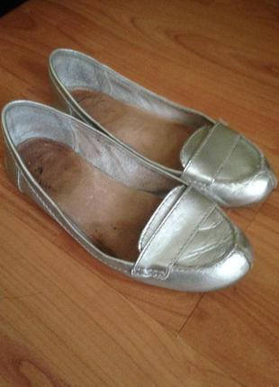 Next балетки кожа, серебро