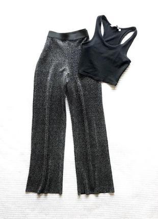 Брюки штаны палаццо свободные на резинке черные плисе говфре купить цена