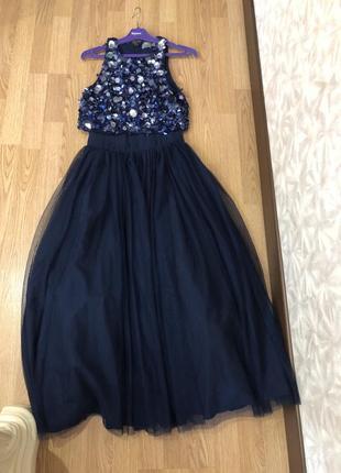 Неимоверное вечернее фатиновое длинное пышное платье бренда asos