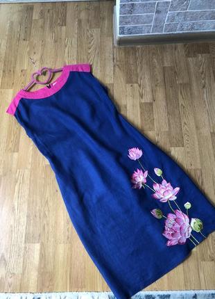 Льняное женское платье 48р.