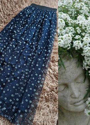 Фатиновая миди юбка в мелкие цветочки