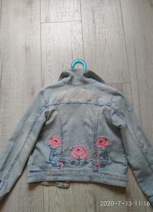 Голубой джинсовый пиджак h&m 7-8 лет