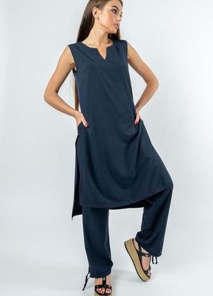 Летний легкий женский темно-синий брючный костюм с длинной туникой (ко 2220 rmmr)