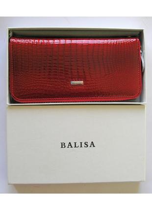 Большой кожаный лаковый кошелек-клатч red, 100% натуральная кожа, есть доставка бесплатно