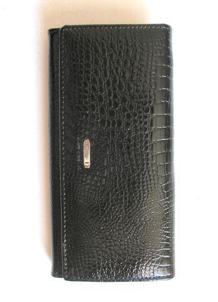 Большой кожаный лаковый кошелек dark, 100% натуральная кожа, есть доставка бесплатно