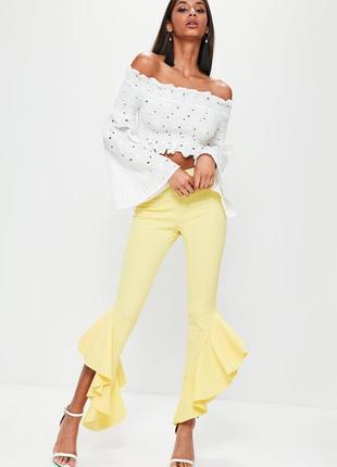 Желтые кюлоты штаны брюки летние с баской лосины яркие необычные с рюшами 34