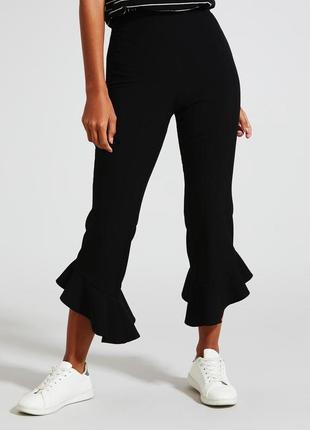 Черные кюлоты штаны брюки летние с баской лосины яркие необычные с рюшами 36