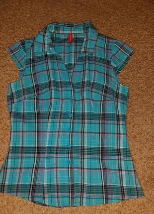 Рубашка с коротким рукавом в клетку ostin размер xs-s