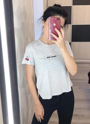 """Серая футболка от topshop с надписью """"sweet talk"""""""