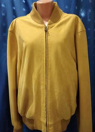 Мужская кожанная куртка - бомбер timberland (оригинал)
