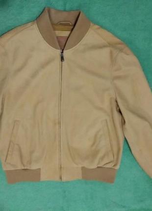 Мужская кожанная куртка - бомбер timberland (оригинал)9 фото