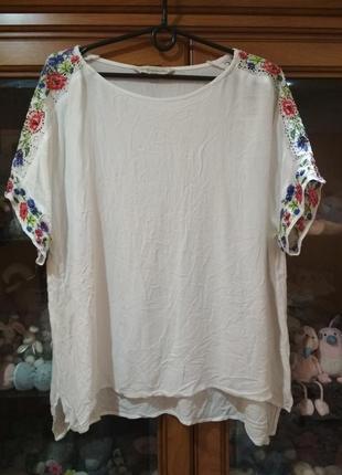 Блузка футболка оверсайз вышивка