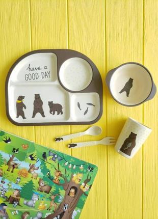 Детский набор посуды из волокон бамбука. медведи.