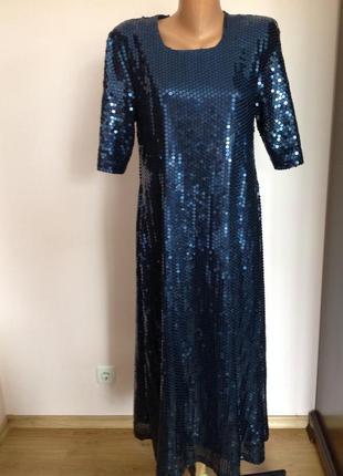 Шикарное длинное темно-синее платье в паетки/m/
