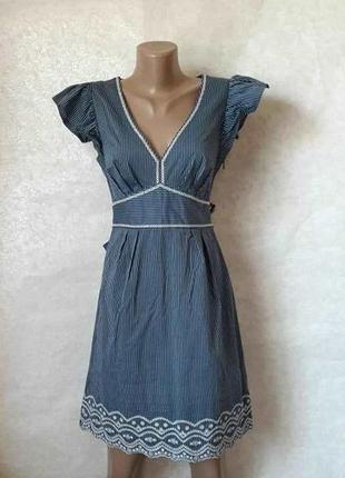 Фирменное oasis красивое летнее платье/сарафан в мелкую полосочку с пояском, размер с-ка