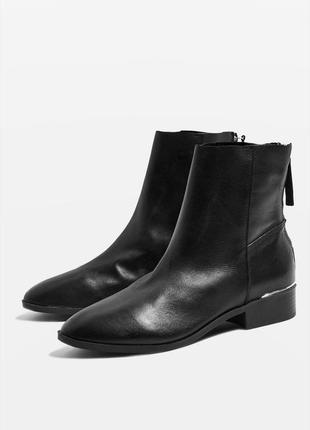 Кожаные высокие ботинки челси 100% натуральная кожа на низком каблуке на молнии от topshop