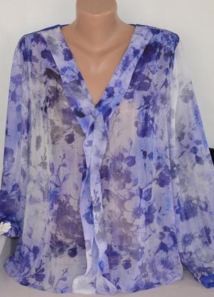 Брендовая фиолетовая шифоновая блуза mango марокко принт цветы этикетка
