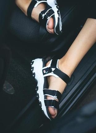 Сандали skechers d'lites sandal black босоножки черные с белым4 фото