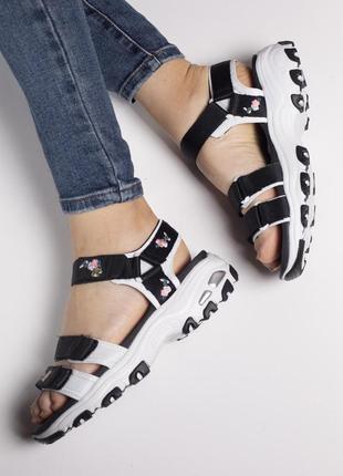 Сандали skechers d'lites sandal black босоножки черные с белым