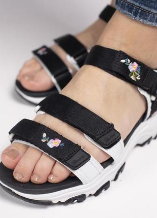 Сандали skechers d'lites sandal black босоножки черные с белым8 фото