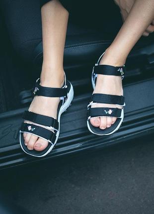 Сандали skechers d'lites sandal black босоножки черные с белым7 фото