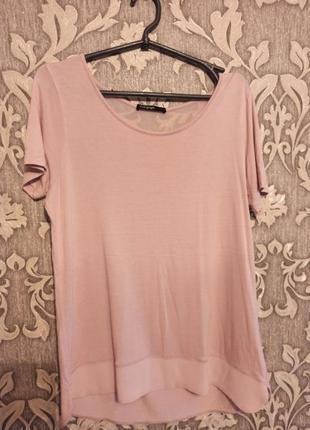 Суперская розовая футболка со вставками с шифона.
