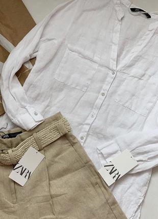 Рубашка льон лен белая 38м zara