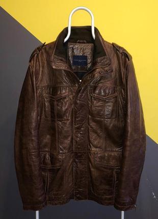 Кожаная оригинальная куртка томми хилфигер