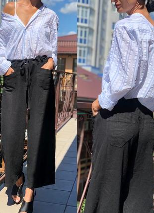 Красивый комплект льняные брюки с рубашкой