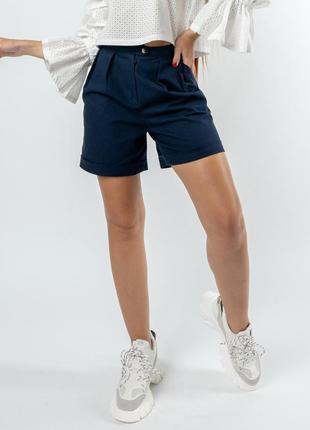Льняные летние свободные темно-синие черничные женские шорты с завышенной талией
