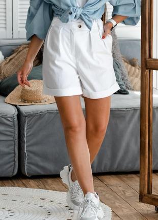 Льняные летние свободные белые женские шорты с завышенной талией