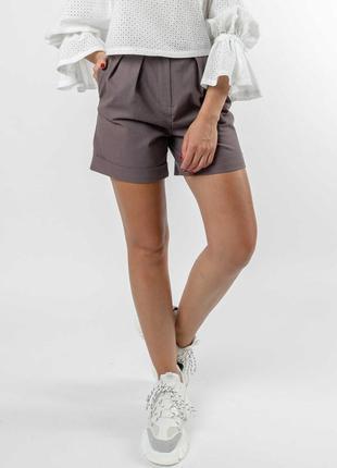 Льняные летние свободные лавандовые женские шорты с завышенной талией