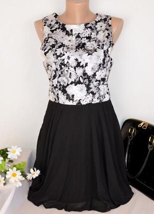 Брендовое нарядное вечернее мини короткое платье adc panacher коттон принт цветы этикетка