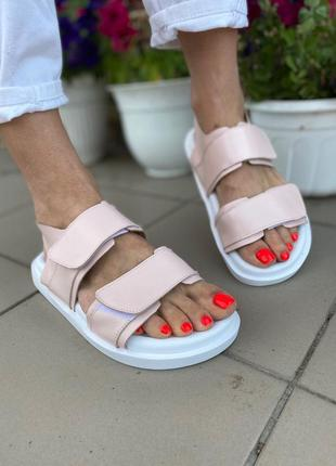 Кожаные босоножки на липучках сандалии натуральная кожа