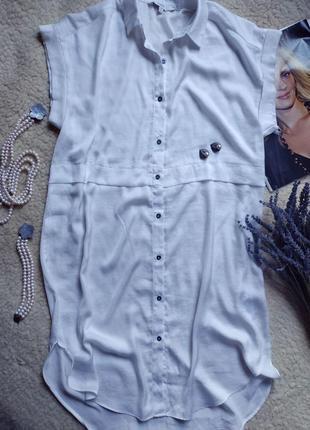 Платье рубашка туника белая
