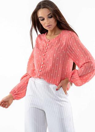 Шифоновая свободная коралловая женская блуза с широкими рукавами на резинке (бл 0720 rmmr)