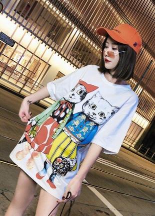 Женская трендовая футболка в стиле хип хоп с рисунком кошек. m размер.