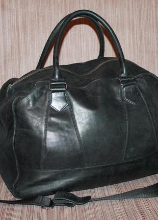 Большая кожаная дорожная сумка zara 100% натуральная кожа