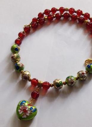 Бусы - ожерелье с подвеской, клуазоне, стекло лэмпворк