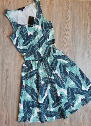 Красивое летнее платье сарафан тропический принт esmara xs