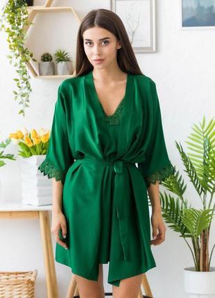 Mito melisa 1352 женский шелковый халат зеленый с кружевом и поясом