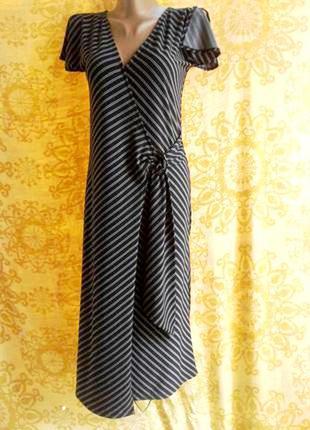 Актуальное серое с черным тонкое трикотажное платье , s