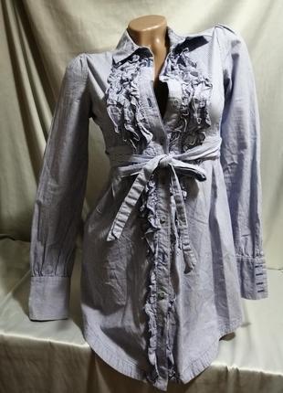 Платье рубашка короткое в полоску