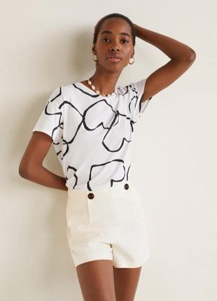 Белая футболка mango / m / черный принт