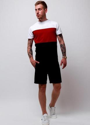 Цена акция летний мужской спортивный костюм комплект футболка и шорты с лампасами