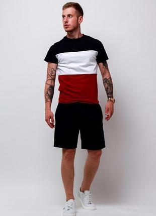 Летний мужской спортивный костюм комплект футболка и шорты с лампасами