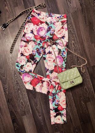 Летние штаны  брюки легенсы skinny vila розы пионы цветы