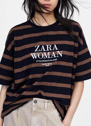Свободная женская футболка с коротким рукавом zara