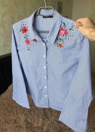 Шикарная рубашка, рубашка с вышивкой 🌹🌷🌸