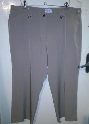 Стрейч,укороченные,бежевые (фото 3) брюки-капри с карманами,большого размера,германия